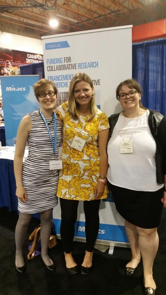 In the Congress 2015 expo space with Ana Majstorovic (Mitacs) and Mary Chaktsiris (Research Matters, COU)